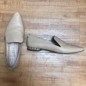 Calvin Klein Tan Nude Flats Loafers Pointed Toe